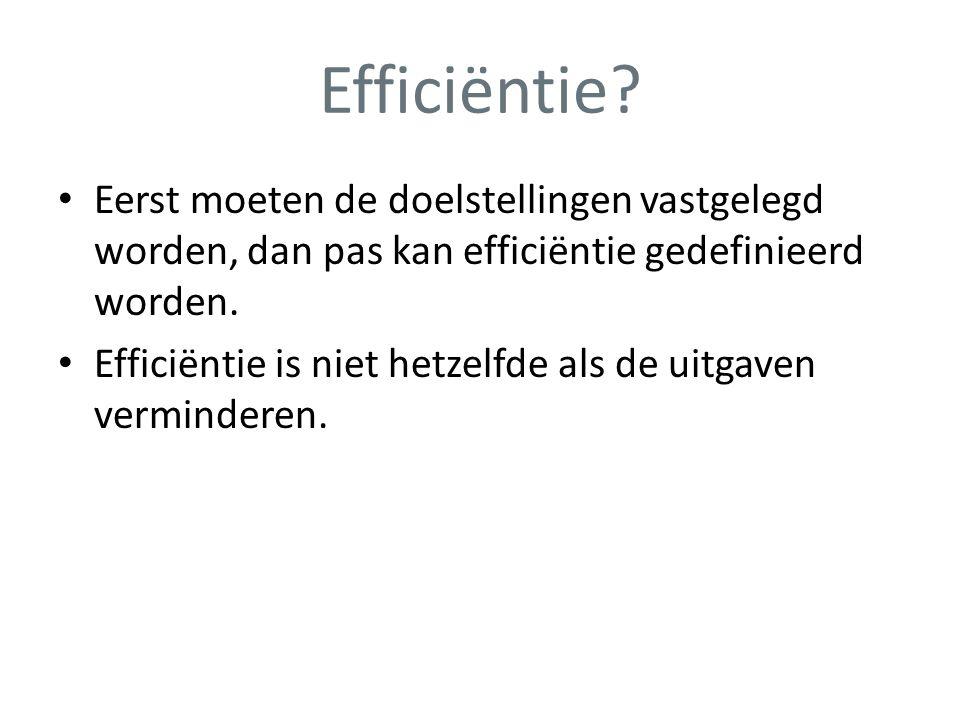 Efficiëntie? • Eerst moeten de doelstellingen vastgelegd worden, dan pas kan efficiëntie gedefinieerd worden. • Efficiëntie is niet hetzelfde als de u