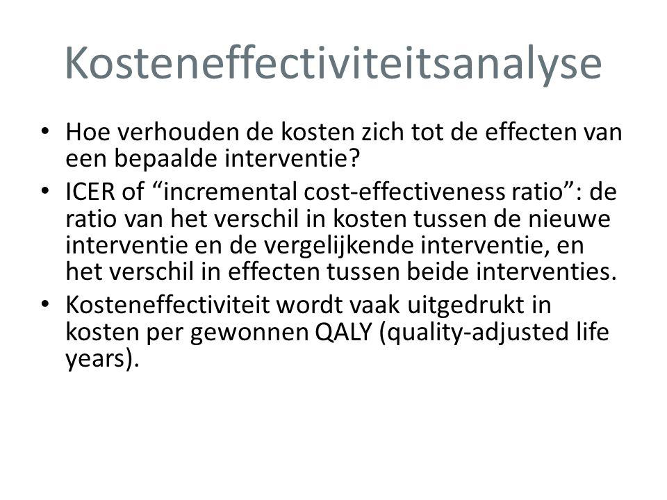 """Kosteneffectiviteitsanalyse • Hoe verhouden de kosten zich tot de effecten van een bepaalde interventie? • ICER of """"incremental cost-effectiveness rat"""