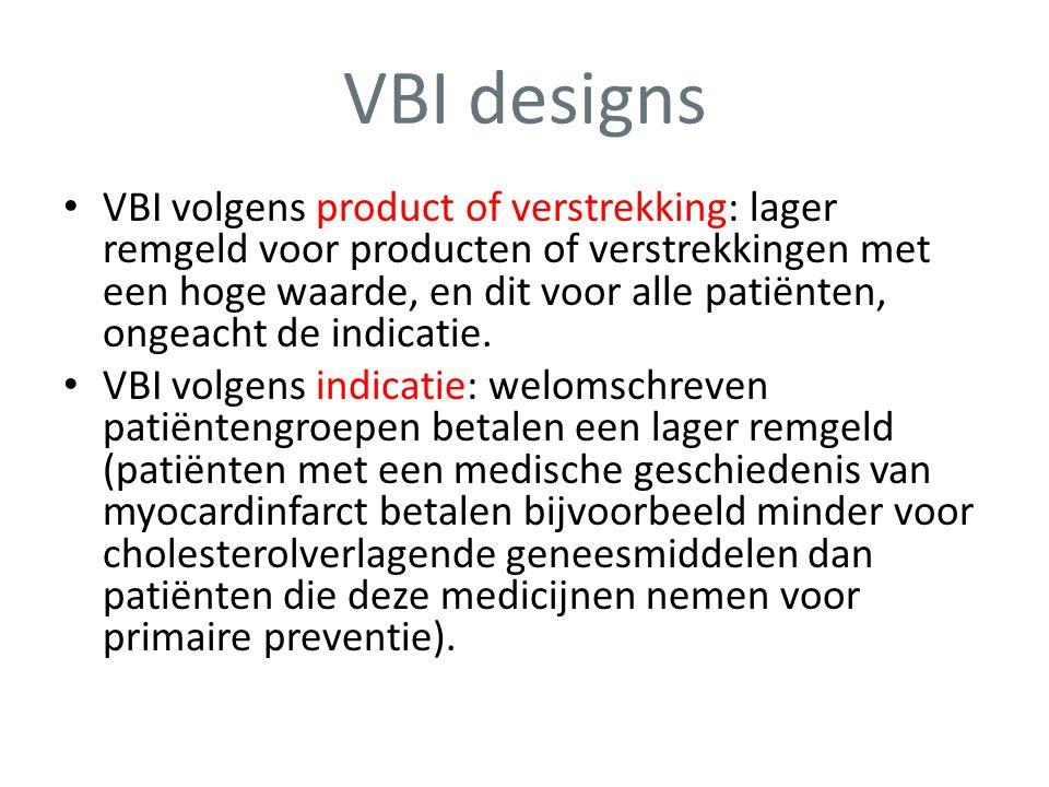 VBI designs • VBI volgens product of verstrekking: lager remgeld voor producten of verstrekkingen met een hoge waarde, en dit voor alle patiënten, ong