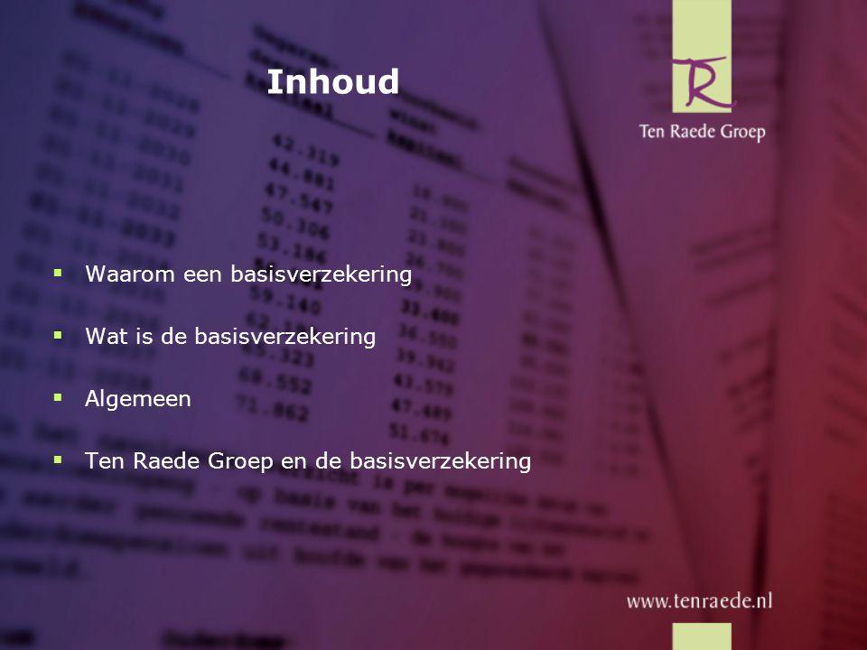 Waarom een basisverzekering Redenatie nieuwe basisverzekering: -Door technische ontwikkelingen op medisch gebied en de vergrijzing in Nederland, stijgen de zorgkosten te sterk.