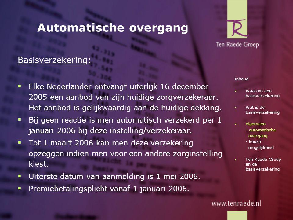 Automatische overgang Basisverzekering:  Elke Nederlander ontvangt uiterlijk 16 december 2005 een aanbod van zijn huidige zorgverzekeraar. Het aanbod