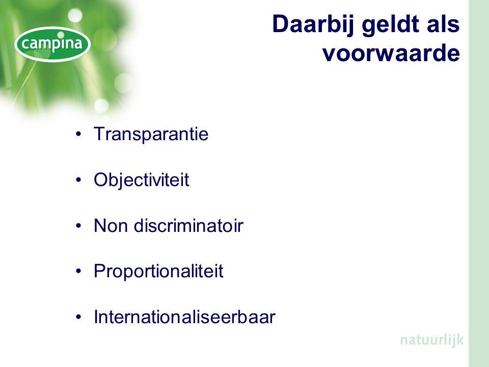 Daarbij geldt als voorwaarde •Transparantie •Objectiviteit •Non discriminatoir •Proportionaliteit •Internationaliseerbaar