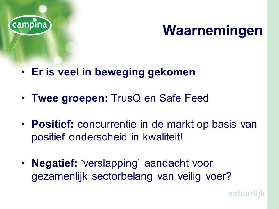 Waarnemingen •Er is veel in beweging gekomen •Twee groepen: TrusQ en Safe Feed •Positief: concurrentie in de markt op basis van positief onderscheid i