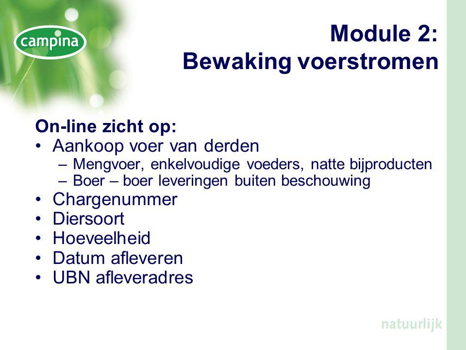 Module 2: Bewaking voerstromen On-line zicht op: •Aankoop voer van derden –Mengvoer, enkelvoudige voeders, natte bijproducten –Boer – boer leveringen