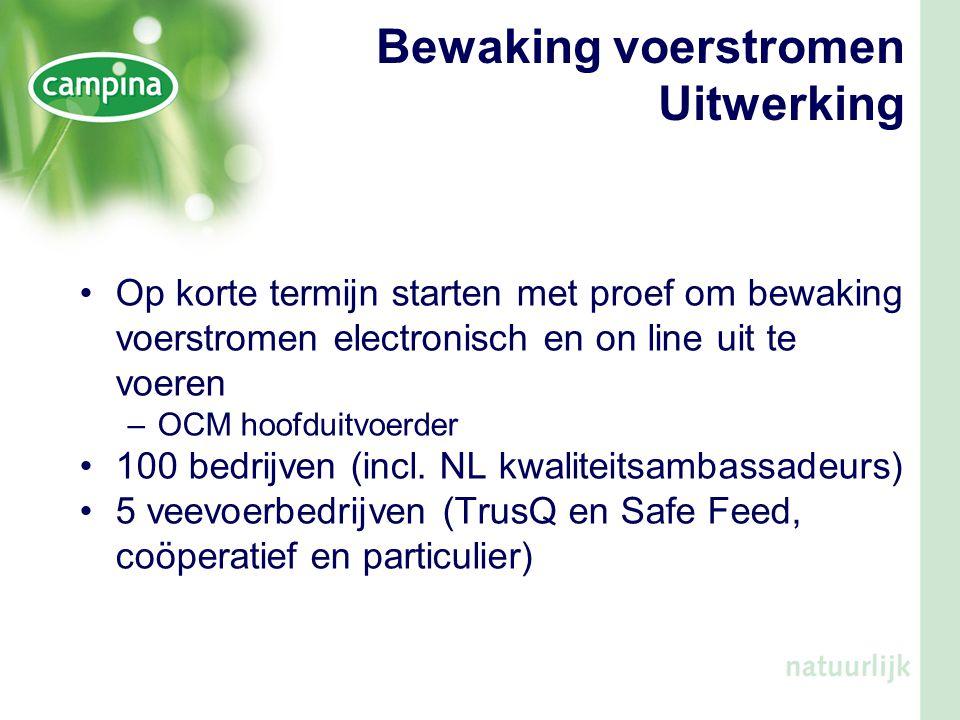 •Op korte termijn starten met proef om bewaking voerstromen electronisch en on line uit te voeren –OCM hoofduitvoerder •100 bedrijven (incl. NL kwalit