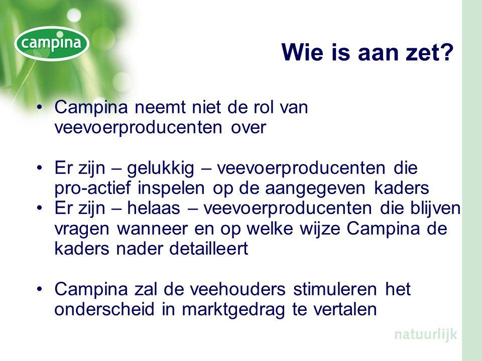 Wie is aan zet? •Campina neemt niet de rol van veevoerproducenten over •Er zijn – gelukkig – veevoerproducenten die pro-actief inspelen op de aangegev