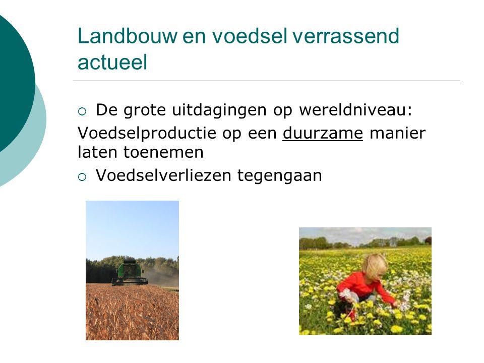 Landbouw en voedsel verrassend actueel  De grote uitdagingen op wereldniveau: Voedselproductie op een duurzame manier laten toenemen  Voedselverliez