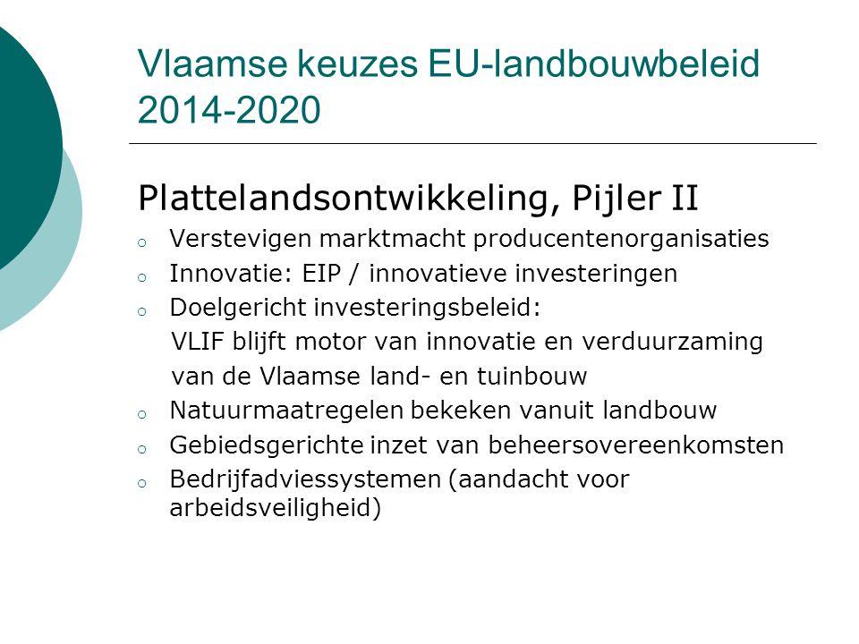 Vlaamse keuzes EU-landbouwbeleid 2014-2020 Plattelandsontwikkeling, Pijler II o Verstevigen marktmacht producentenorganisaties o Innovatie: EIP / inno