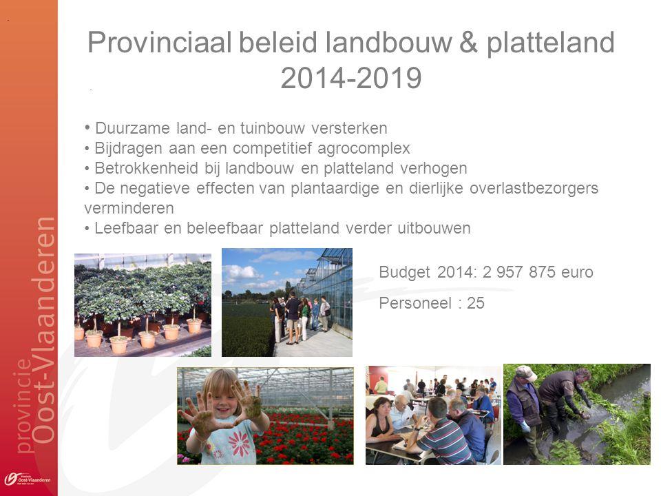 .. Provinciaal beleid landbouw & platteland 2014-2019 • Duurzame land- en tuinbouw versterken • Bijdragen aan een competitief agrocomplex • Betrokkenh