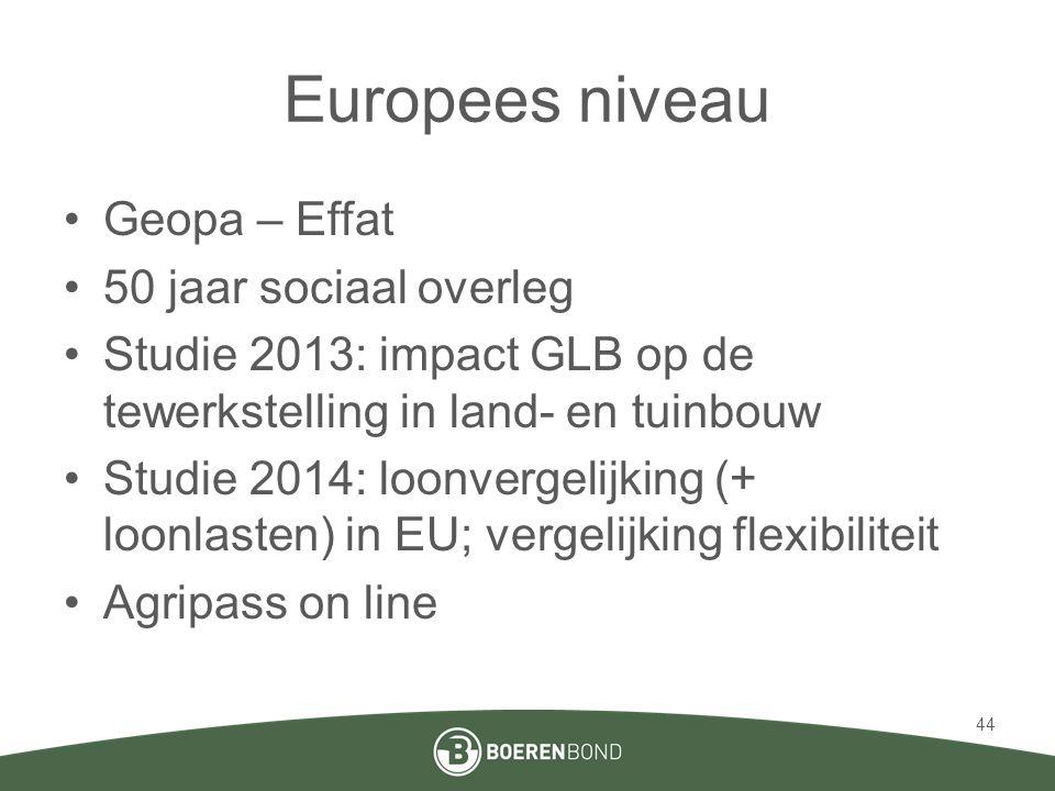 Europees niveau •Geopa – Effat •50 jaar sociaal overleg •Studie 2013: impact GLB op de tewerkstelling in land- en tuinbouw •Studie 2014: loonvergelijk