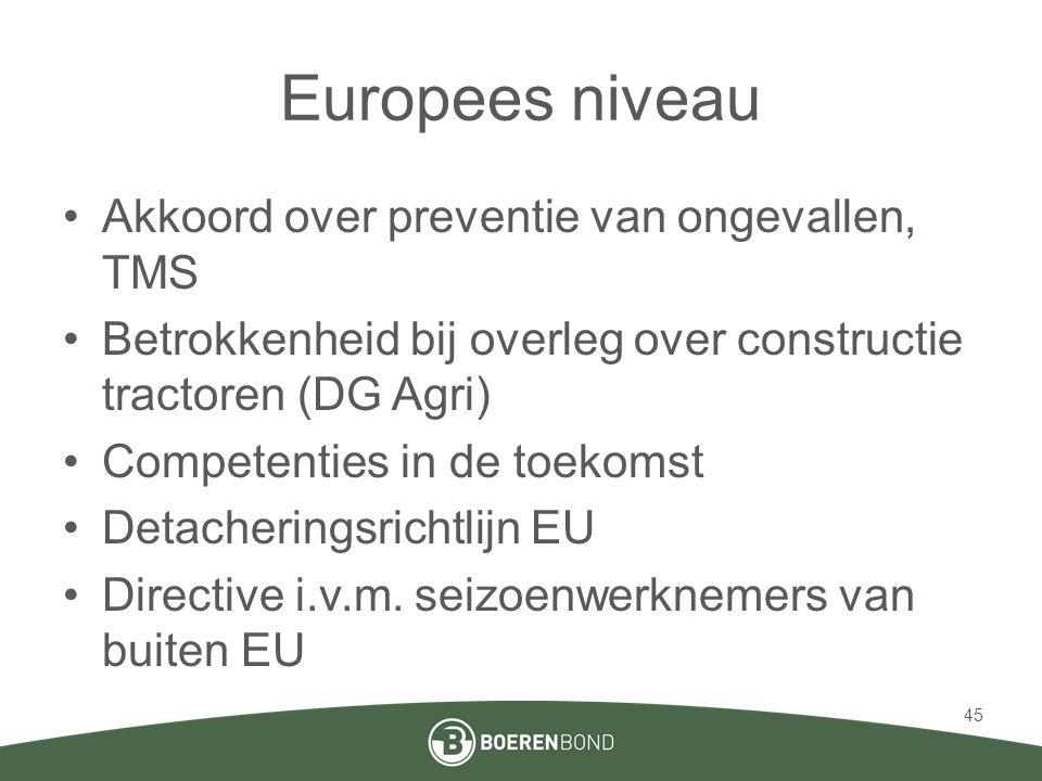 Europees niveau •Akkoord over preventie van ongevallen, TMS •Betrokkenheid bij overleg over constructie tractoren (DG Agri) •Competenties in de toekom