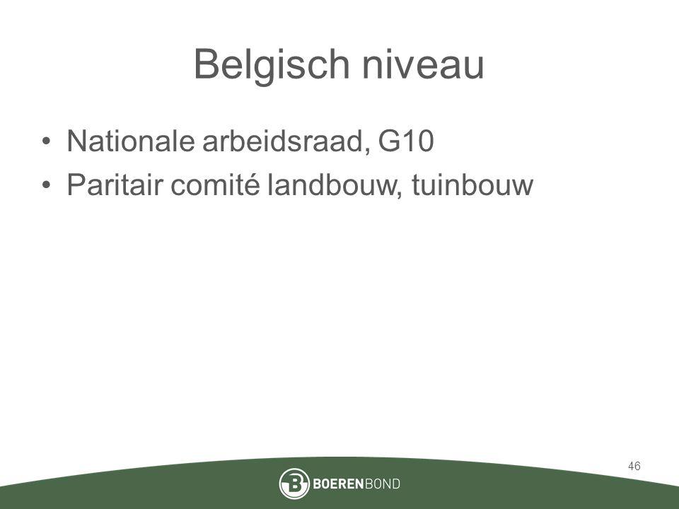 Belgisch niveau •Nationale arbeidsraad, G10 •Paritair comité landbouw, tuinbouw 46
