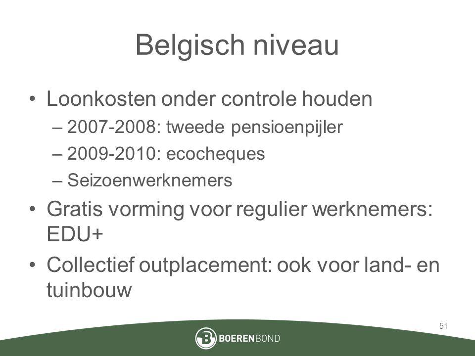 Belgisch niveau •Loonkosten onder controle houden –2007-2008: tweede pensioenpijler –2009-2010: ecocheques –Seizoenwerknemers •Gratis vorming voor reg
