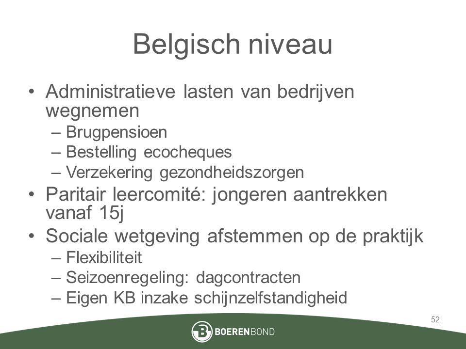 Belgisch niveau •Administratieve lasten van bedrijven wegnemen –Brugpensioen –Bestelling ecocheques –Verzekering gezondheidszorgen •Paritair leercomit