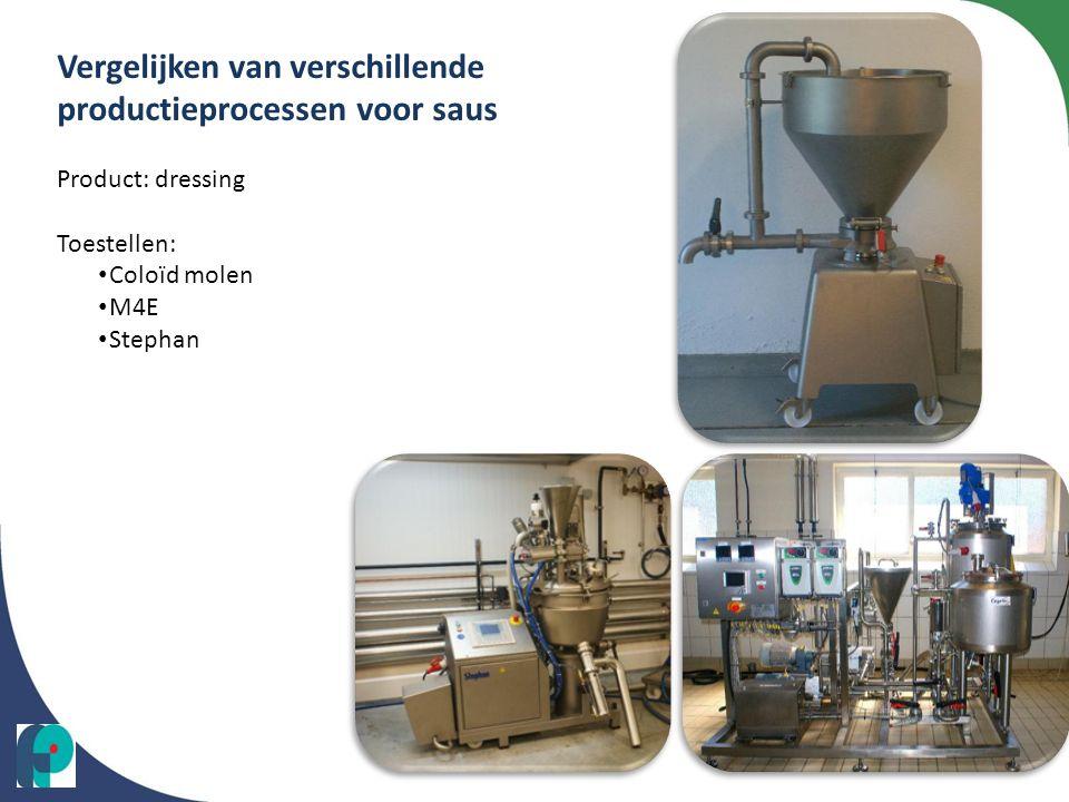Vergelijken van verschillende productieprocessen voor saus Product: dressing Toestellen: • Coloïd molen • M4E • Stephan