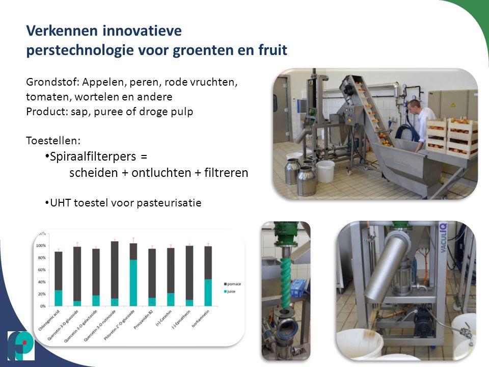 Verkennen innovatieve perstechnologie voor groenten en fruit Grondstof: Appelen, peren, rode vruchten, tomaten, wortelen en andere Product: sap, puree