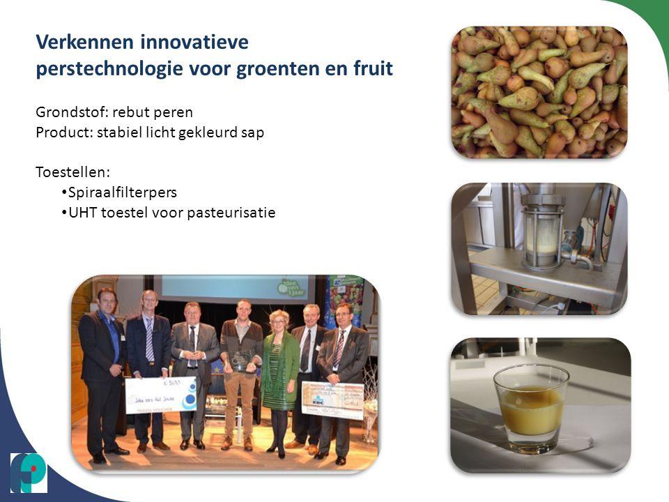 Verkennen innovatieve perstechnologie voor groenten en fruit Grondstof: rebut peren Product: stabiel licht gekleurd sap Toestellen: • Spiraalfilterper