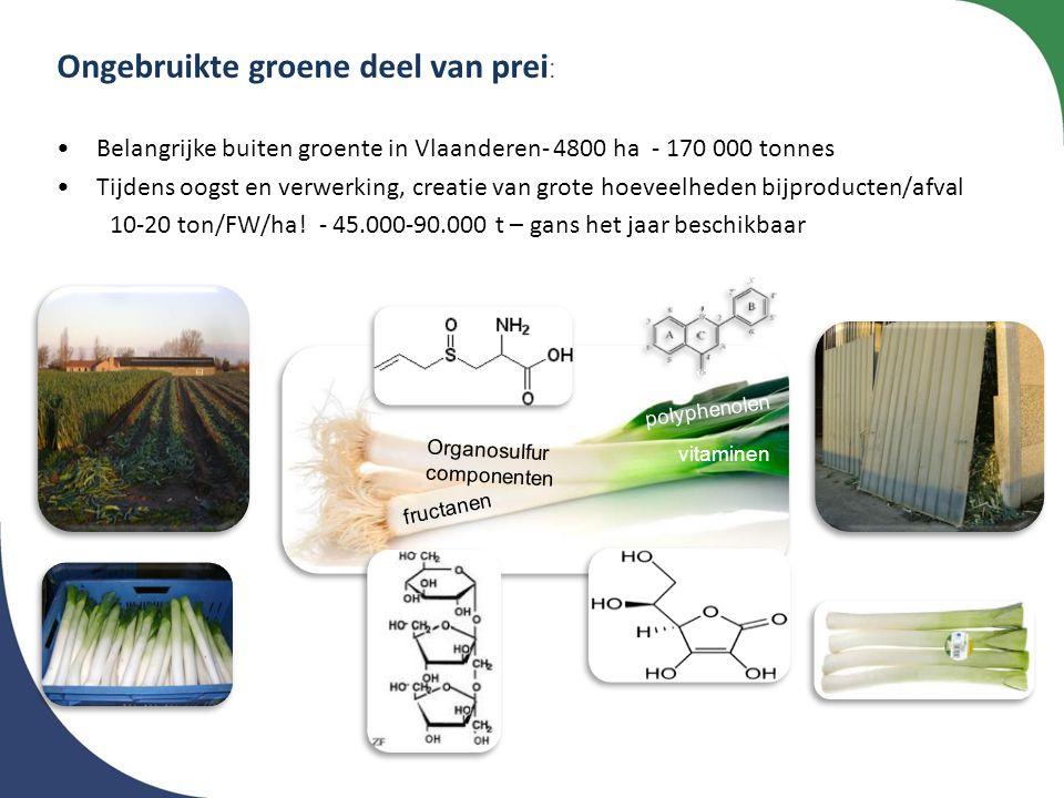 Ongebruikte groene deel van prei : •Belangrijke buiten groente in Vlaanderen- 4800 ha - 170 000 tonnes •Tijdens oogst en verwerking, creatie van grote