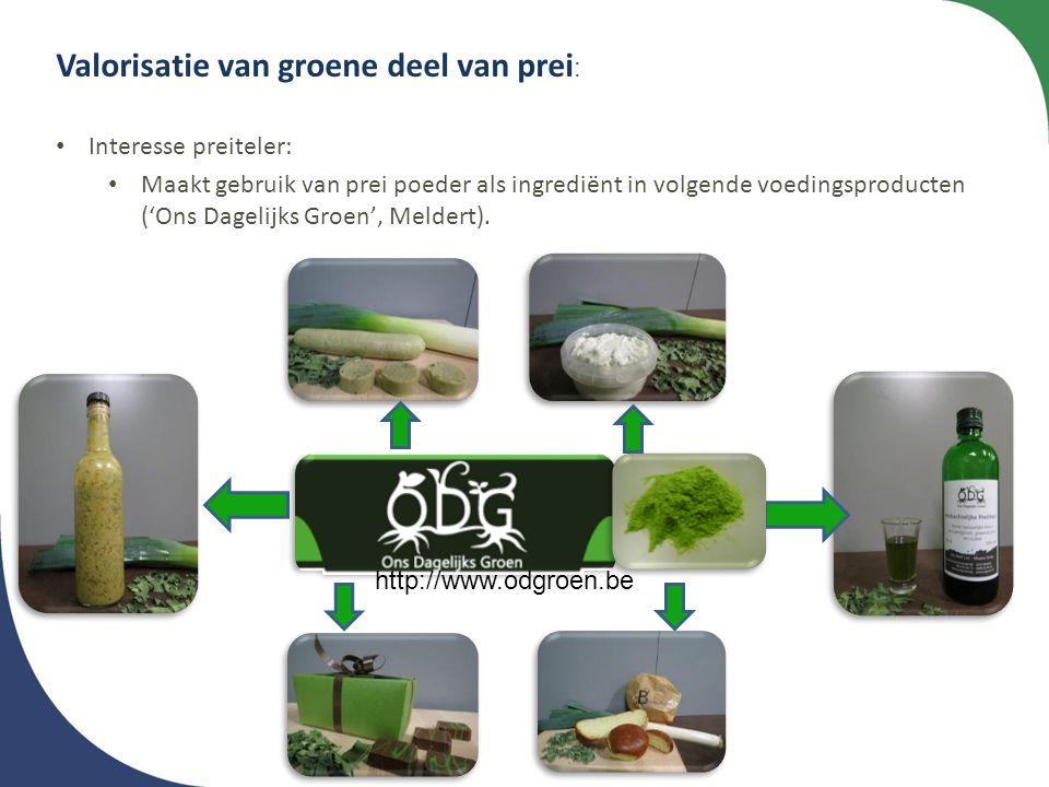Valorisatie van groene deel van prei : • Interesse preiteler: • Maakt gebruik van prei poeder als ingrediënt in volgende voedingsproducten ('Ons Dagel