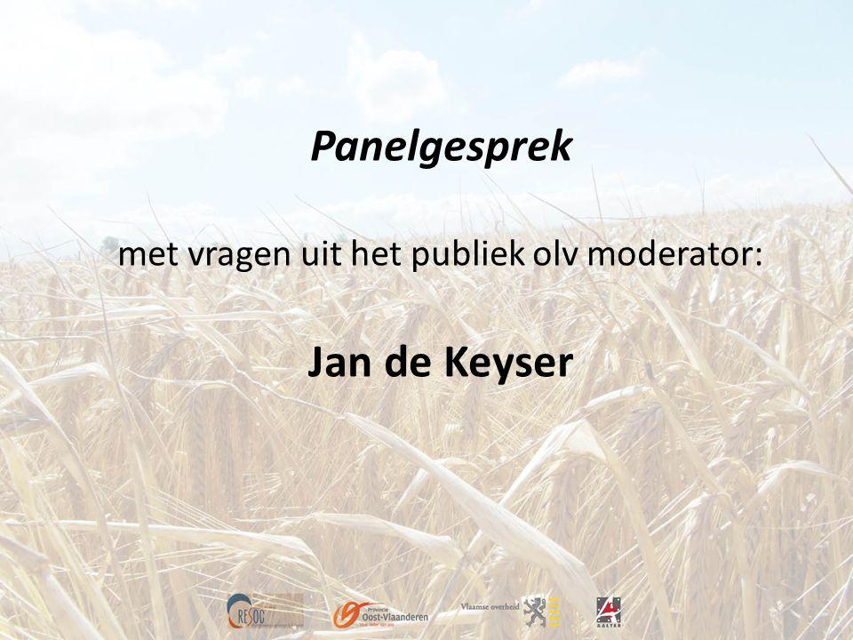 Panelgesprek met vragen uit het publiek olv moderator: Jan de Keyser