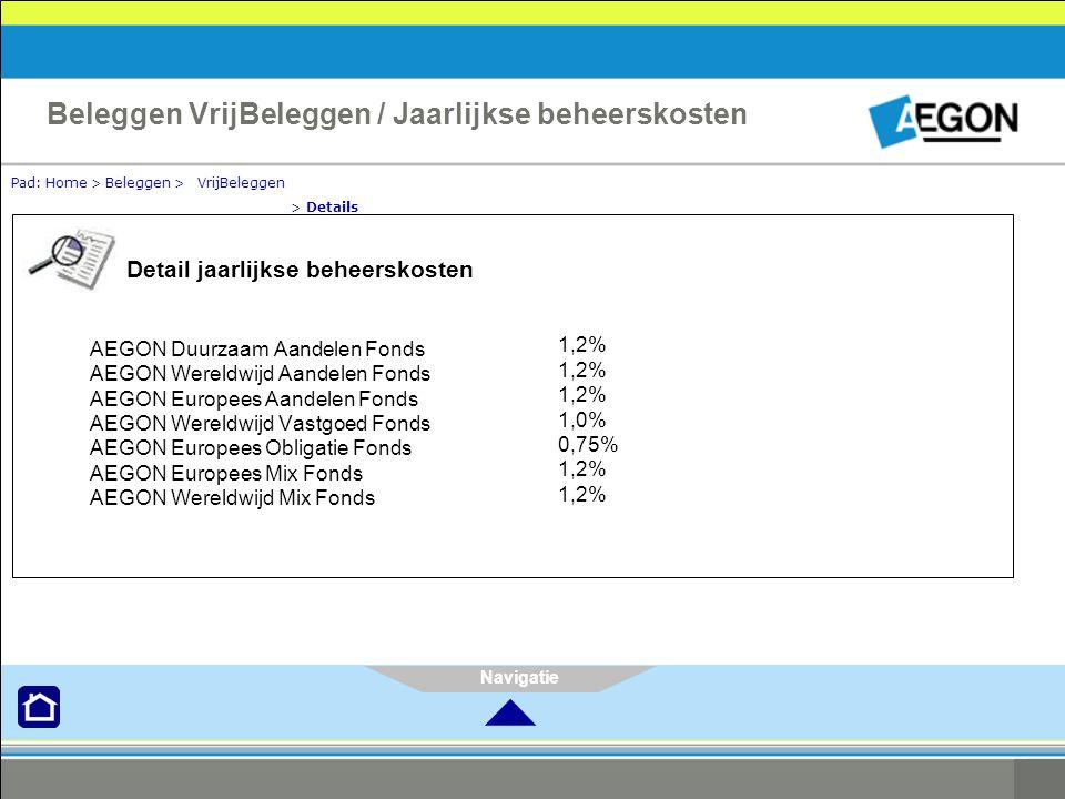 Navigatie Pad: Home > Beleggen > VrijBeleggen > Details Beleggen VrijBeleggen / Jaarlijkse beheerskosten Detail jaarlijkse beheerskosten AEGON Duurzaam Aandelen Fonds AEGON Wereldwijd Aandelen Fonds AEGON Europees Aandelen Fonds AEGON Wereldwijd Vastgoed Fonds AEGON Europees Obligatie Fonds AEGON Europees Mix Fonds AEGON Wereldwijd Mix Fonds 1,2% 1,0% 0,75% 1,2% 