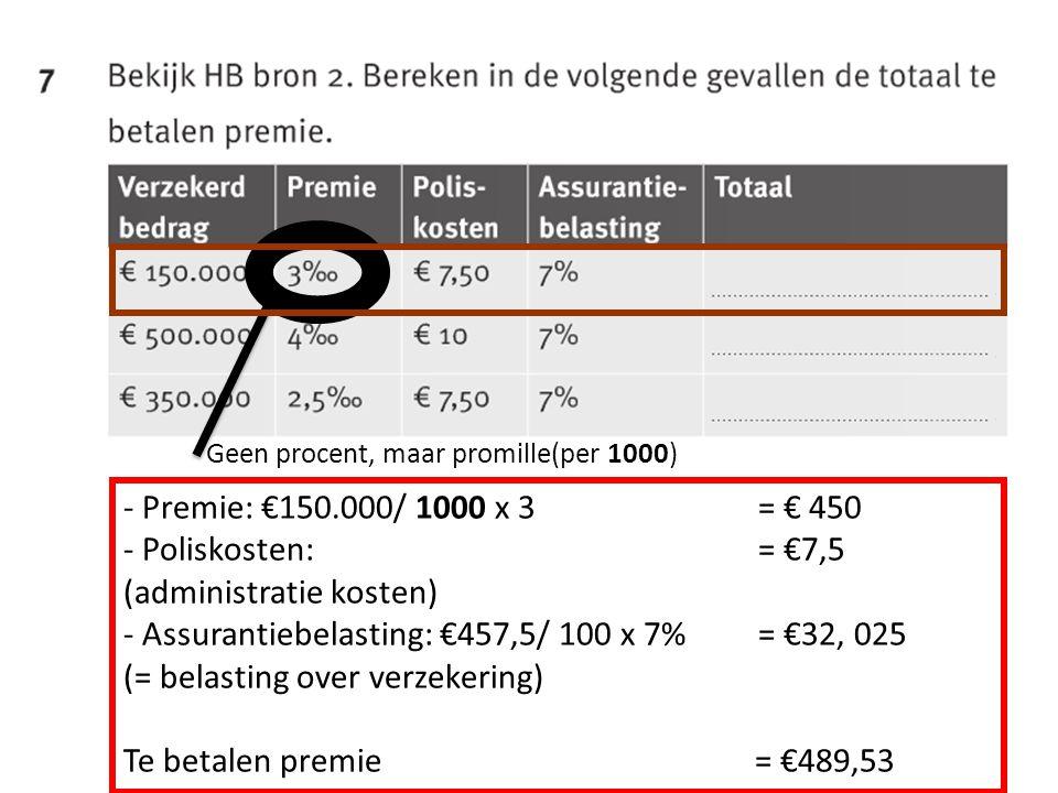 Geen procent, maar promille(per 1000) - Premie: €150.000/ 1000 x 3 = € 450 - Poliskosten: = €7,5 (administratie kosten) - Assurantiebelasting: €457,5/ 100 x 7% = €32, 025 (= belasting over verzekering) Te betalen premie = €489,53