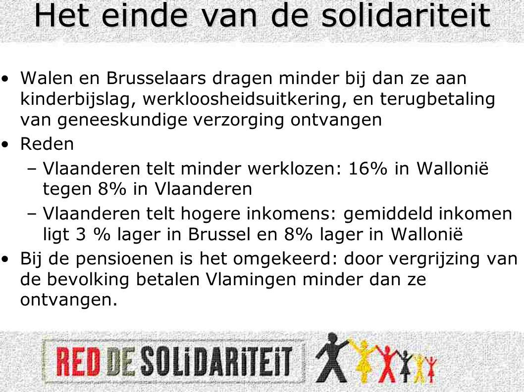 •Walen en Brusselaars dragen minder bij dan ze aan kinderbijslag, werkloosheidsuitkering, en terugbetaling van geneeskundige verzorging ontvangen •Reden –Vlaanderen telt minder werklozen: 16% in Wallonië tegen 8% in Vlaanderen –Vlaanderen telt hogere inkomens: gemiddeld inkomen ligt 3 % lager in Brussel en 8% lager in Wallonië •Bij de pensioenen is het omgekeerd: door vergrijzing van de bevolking betalen Vlamingen minder dan ze ontvangen.