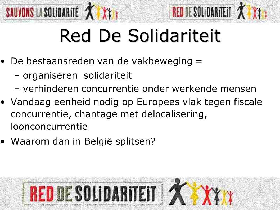 •De bestaansreden van de vakbeweging = –organiseren solidariteit –verhinderen concurrentie onder werkende mensen •Vandaag eenheid nodig op Europees vlak tegen fiscale concurrentie, chantage met delocalisering, loonconcurrentie •Waarom dan in België splitsen.
