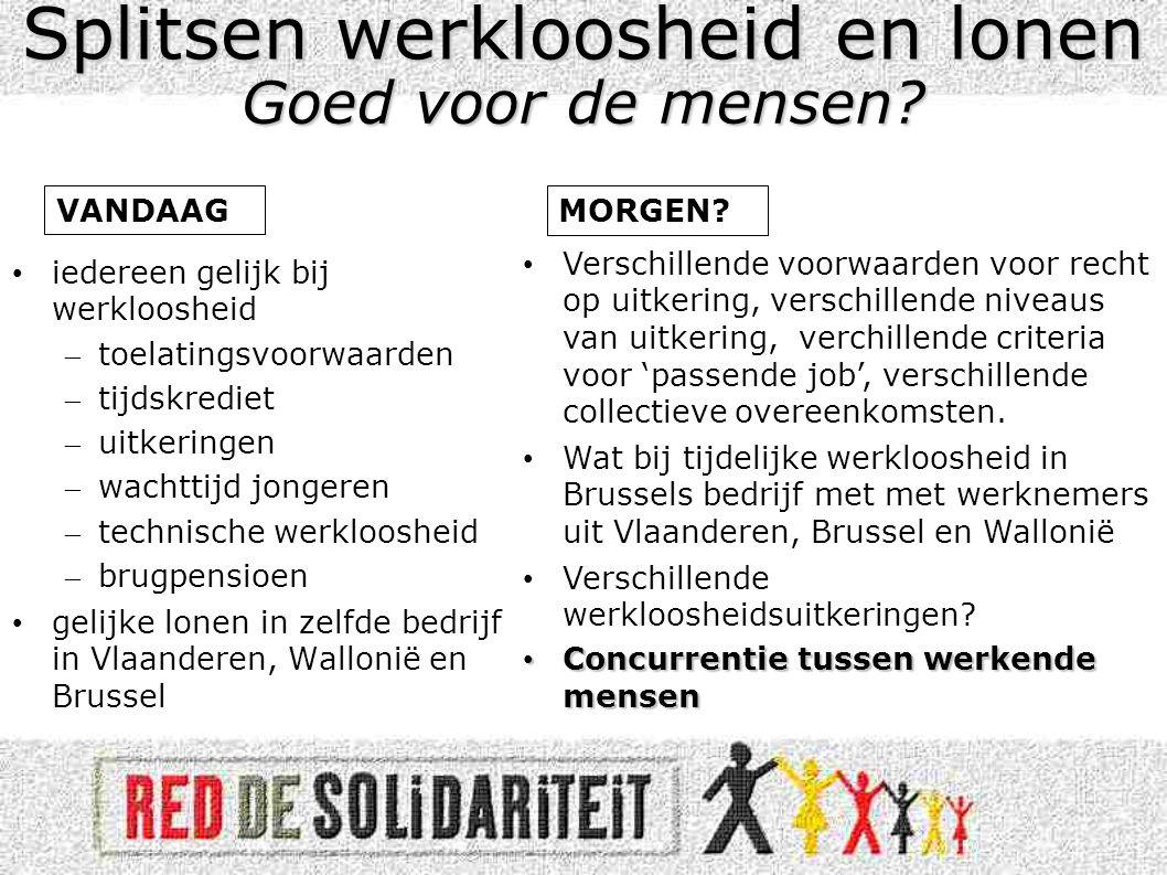 •Regionalisering van de werkloosheidsuitkeringen betekent in Vlaanderen (op dit moment) een overschot gezien de daling van de werkloosheid.