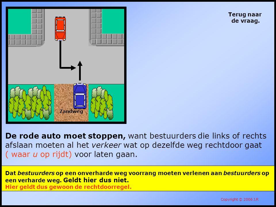 108 Terug naar de vraag. Copyright © 2006 J.R De rode auto moet stoppen, want bestuurders die links of rechts afslaan moeten al het verkeer wat op dez