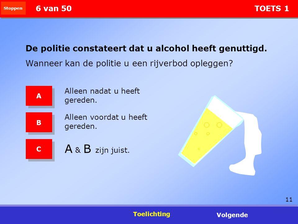 11 Stoppen Toelichting Volgende 6 van 50 TOETS 1 De politie constateert dat u alcohol heeft genuttigd. Wanneer kan de politie u een rijverbod opleggen