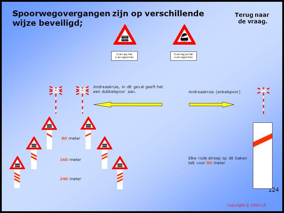 124 Terug naar de vraag. Copyright © 2006 J.R Spoorwegovergangen zijn op verschillende wijze beveiligd; Overweg met overwegbomen Overweg zonder overwe