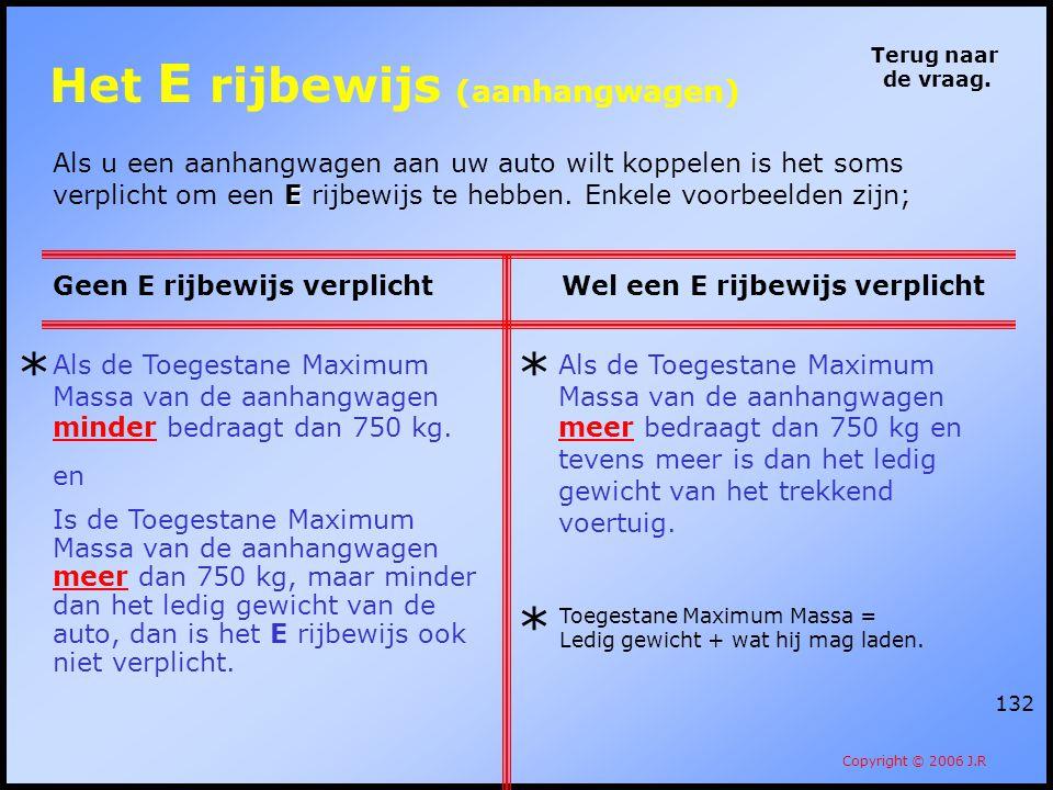 132 Terug naar de vraag. Copyright © 2006 J.R E Als u een aanhangwagen aan uw auto wilt koppelen is het soms verplicht om een E rijbewijs te hebben. E