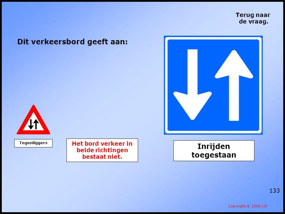 133 Terug naar de vraag. Copyright © 2006 J.R Dit verkeersbord geeft aan: Het bord verkeer in beide richtingen bestaat niet. Tegenliggers Inrijden toe