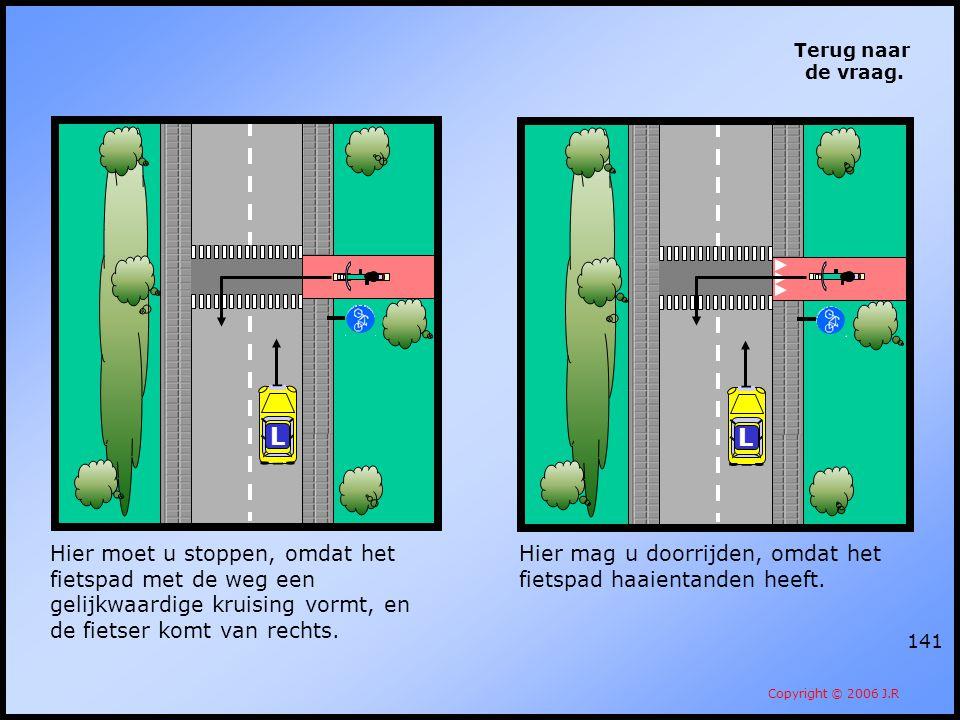141 Terug naar de vraag. Copyright © 2006 J.R Hier moet u stoppen, omdat het fietspad met de weg een gelijkwaardige kruising vormt, en de fietser komt