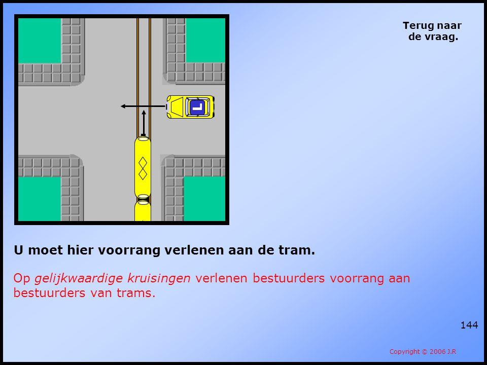 144 Terug naar de vraag. Copyright © 2006 J.R L U moet hier voorrang verlenen aan de tram. Op gelijkwaardige kruisingen verlenen bestuurders voorrang
