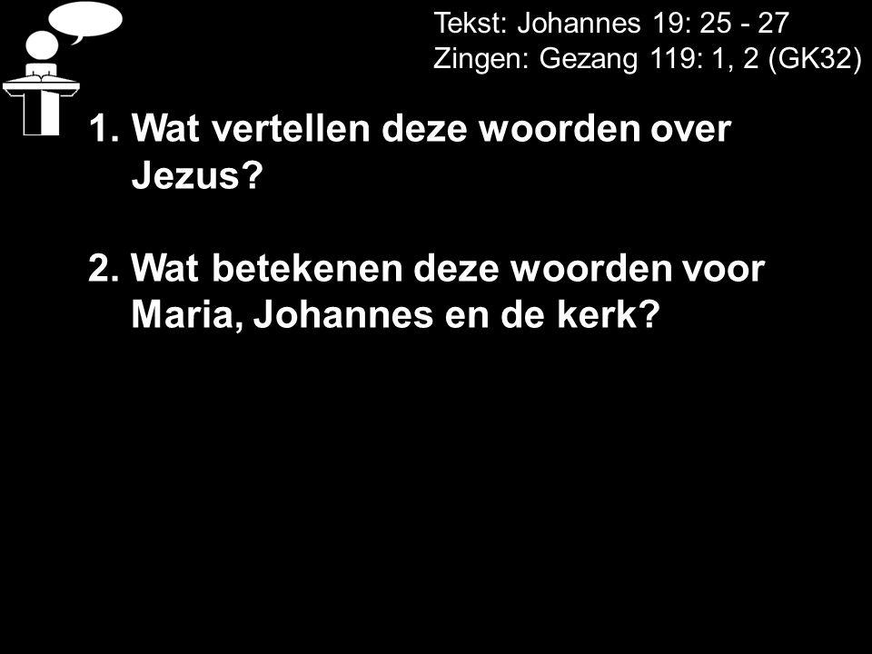 Tekst: Johannes 19: 25 - 27 Zingen: Gezang 119: 1, 2 (GK32) 1.Wat vertellen deze woorden over Jezus? 2. Wat betekenen deze woorden voor Maria, Johanne