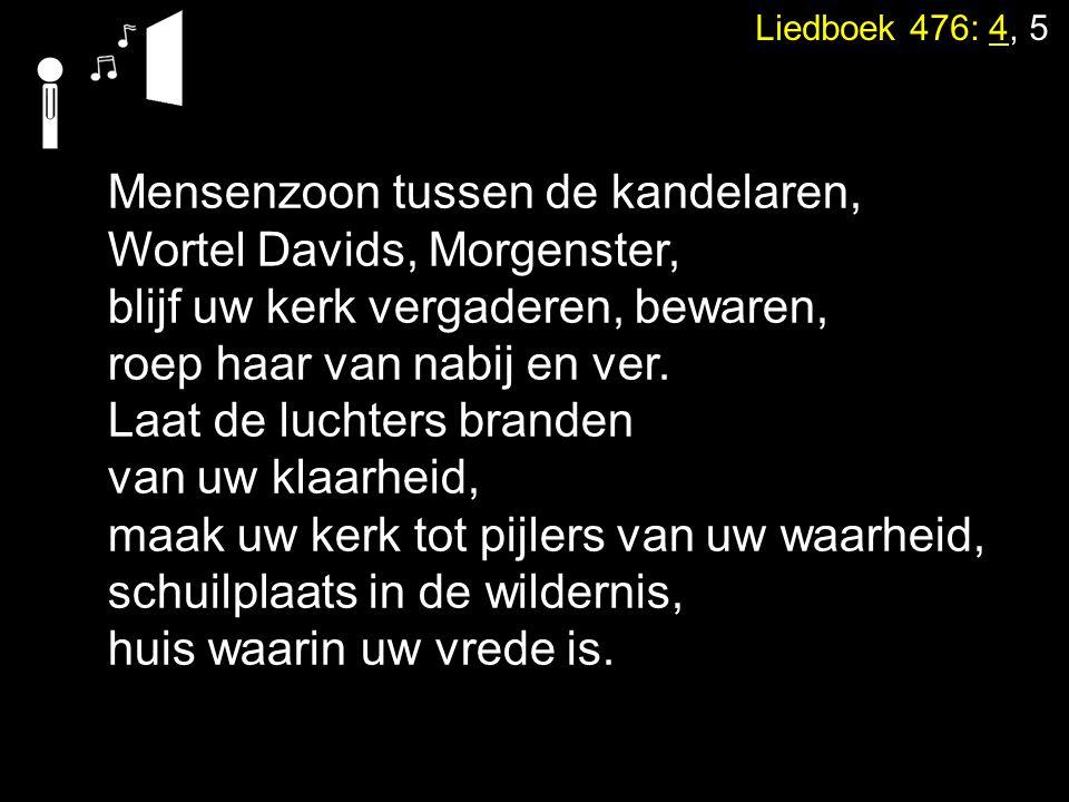 Liedboek 476: 4, 5 Mensenzoon tussen de kandelaren, Wortel Davids, Morgenster, blijf uw kerk vergaderen, bewaren, roep haar van nabij en ver. Laat de