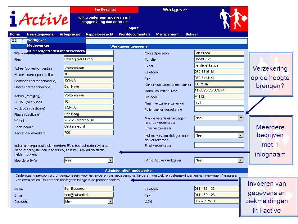 Invoeren van gegevens en ziekmeldingen in i-active Verzekering op de hoogte brengen? Meerdere bedrijven met 1 inlognaam