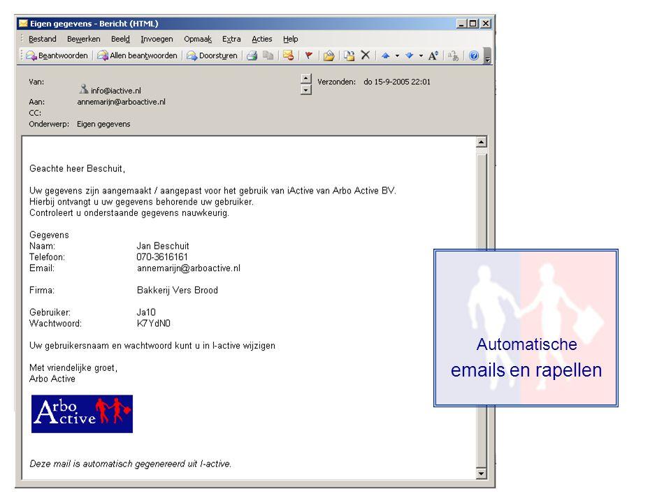 Automatische emails en rapellen