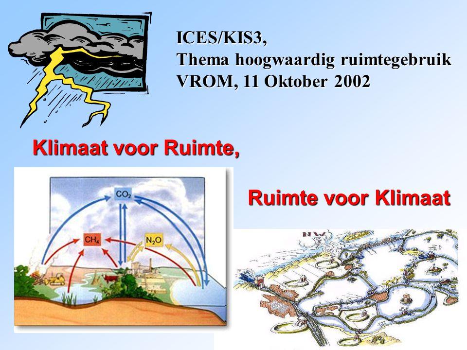Klimaat voor Ruimte, Ruimte voor Klimaat Ruimte voor Klimaat ICES/KIS3, Thema hoogwaardig ruimtegebruik VROM, 11 Oktober 2002