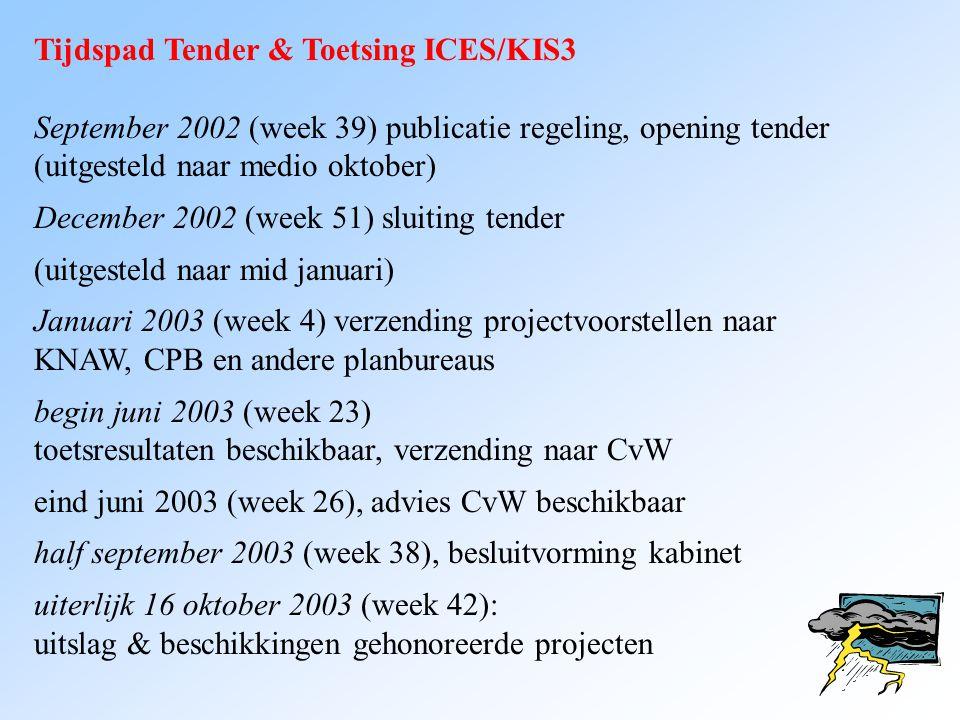 Tijdspad Tender & Toetsing ICES/KIS3 September 2002 (week 39) publicatie regeling, opening tender (uitgesteld naar medio oktober) December 2002 (week
