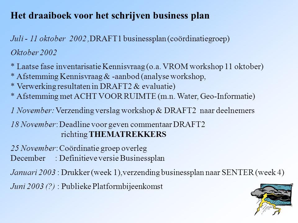 Het draaiboek voor het schrijven business plan Juli - 11 oktober 2002,DRAFT1 businessplan (coördinatiegroep) Oktober 2002 * Laatse fase inventarisatie Kennisvraag (o.a.