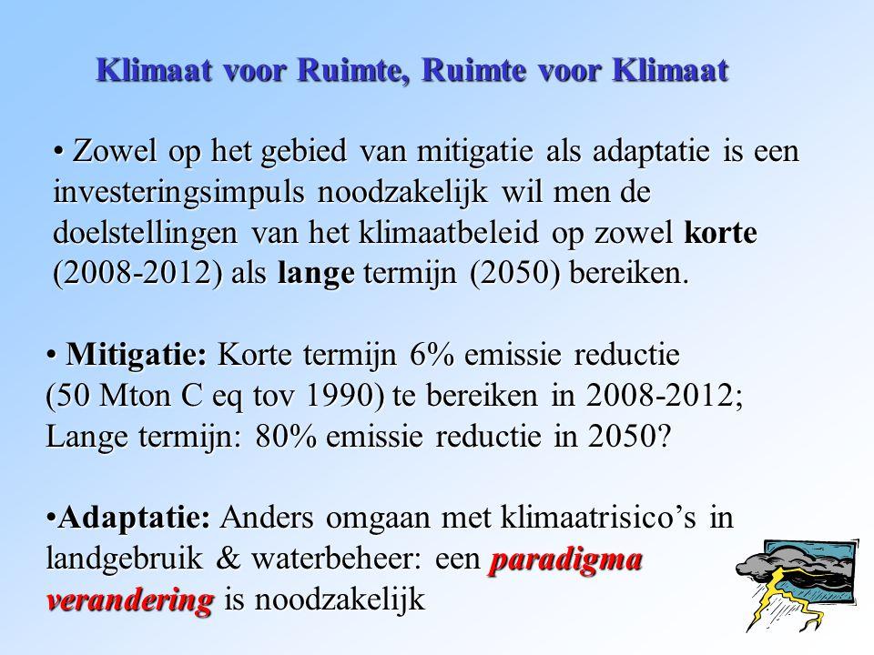 Klimaat voor Ruimte, Ruimte voor Klimaat * Soms is technisch/infrastructureel heel wat mogelijk, om de gevolgen van klimaatverandering te beperken: MAAR: * De kost gaat voor de baat uit, * Het is moeilijk draagvlak te krijgen voor maatregelen die pas effect hebben in de toekomst, * Ruimte is schaars.