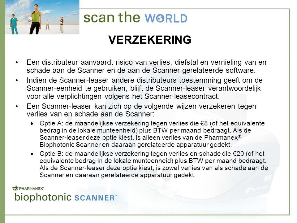 VERZEKERING •Een distributeur aanvaardt risico van verlies, diefstal en vernieling van en schade aan de Scanner en de aan de Scanner gerelateerde software.