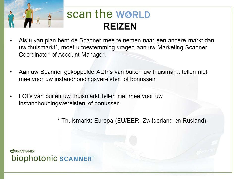 REIZEN •Als u van plan bent de Scanner mee te nemen naar een andere markt dan uw thuismarkt*, moet u toestemming vragen aan uw Marketing Scanner Coordinator of Account Manager.