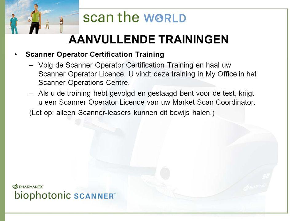 AANVULLENDE TRAININGEN •Scanner Operator Certification Training –Volg de Scanner Operator Certification Training en haal uw Scanner Operator Licence.
