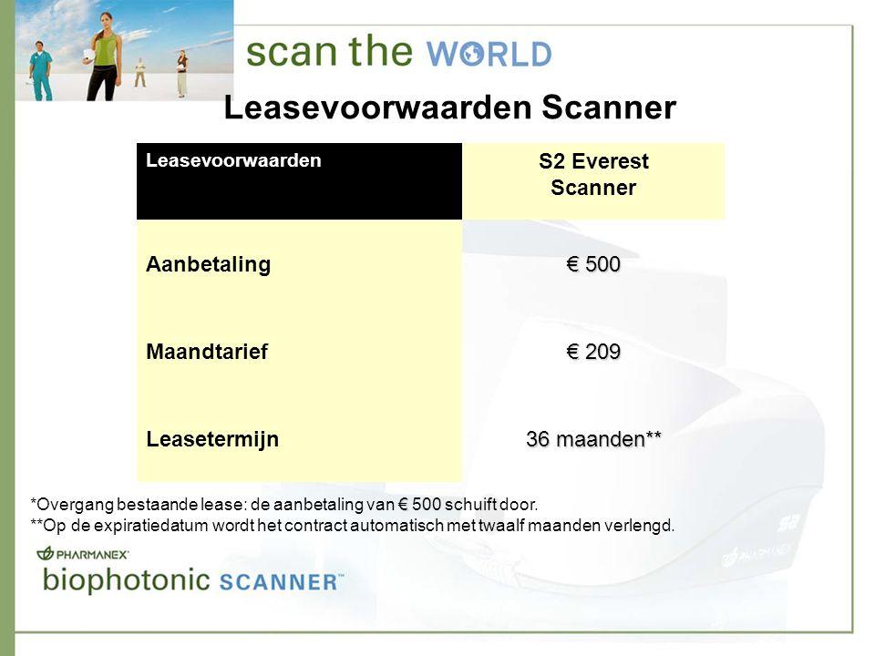 Leasevoorwaarden Scanner Leasevoorwaarden S2 Everest Scanner Aanbetaling € 500 Maandtarief € 209 Leasetermijn 36 maanden** € *Overgang bestaande lease: de aanbetaling van € 500 schuift door.