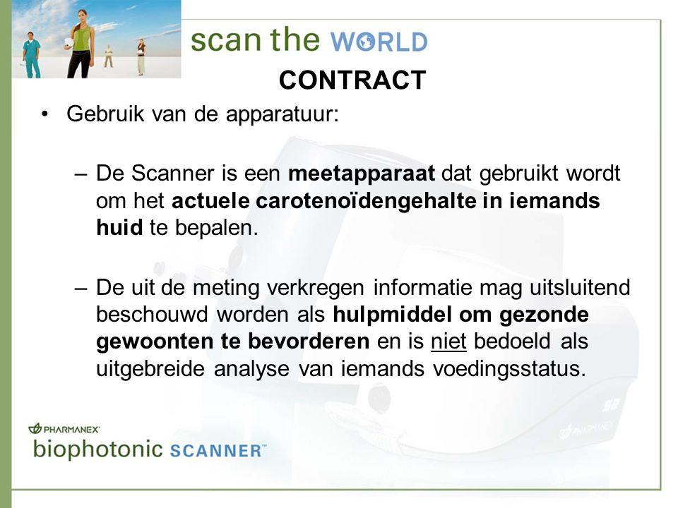 CONTRACT •Gebruik van de apparatuur: –De Scanner is een meetapparaat dat gebruikt wordt om het actuele carotenoïdengehalte in iemands huid te bepalen.