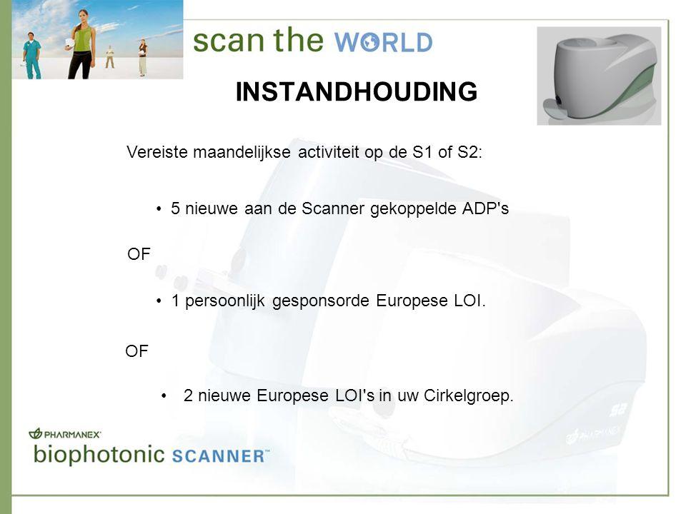 INSTANDHOUDING Vereiste maandelijkse activiteit op de S1 of S2: • 5 nieuwe aan de Scanner gekoppelde ADP s • 1 persoonlijk gesponsorde Europese LOI.